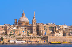 Malta - Panorama of Valletta. Impressive view of the Maltese capital across Marsamxett Harbour from Sliema - Valletta, Malta Stock Photography