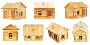 Views of village wooden log house Royalty Free Stock Photos