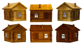 Views of village wooden log house at night Stock Image