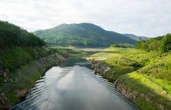 Viewscape顶视图长尾巴在河的小船航行 库存照片