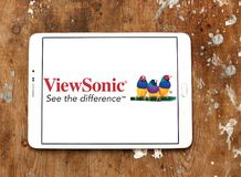 ViewSonic company logo. Logo of ViewSonic on samsung tablet on wooden background. ViewSonic Corporation is a manufacturer and provider of visual technology royalty free stock photo