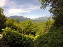 Viewtiful. One of the many gorgeous views along the hike trail of Bridal Veil Falls in Gold Bar, Washington Stock Image