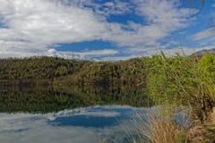 Viewto lake Levico in Italy stock photo