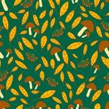 Vif, forêt, modèle sans couture d'automne avec le viburnum, champignons Images stock