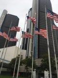 Vifta med flaggor USA arkivfoto
