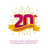 vigésima insignia del logotipo del aniversario diseño colorido del vector del fondo del acontecimiento del cumpleaños libre illustration