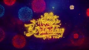 vigésimas partículas de saludo de la chispa del texto del feliz cumpleaños en los fuegos artificiales coloreados stock de ilustración