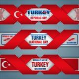Vigésimo noveno de octubre, festividad nacional de Turquía, banderas del web stock de ilustración