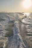 Vigília do barco, fuga no mar após mover-se rápido Foto de Stock