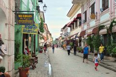 VIGAN, PHILIPPINES - JULY 25, 2015 : Historic Town of Vigan. Vigan is a UNESCO World Heritage Site. In that it is one of the few Spanish colonial town royalty free stock images