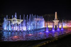 Vigan, electric musical illuminated fountain show. Vigan, the Spanish colonial town in the north of the Philippines also has a musical fountain, an array of Stock Image