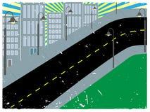 Vigas asoleadas del paisaje urbano montañoso anguloso stock de ilustración
