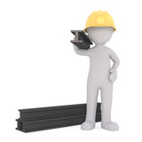 vigas de acero que llevan del trabajador de construcción 3d ilustración del vector