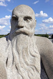 Vigeland park, Oslo, Norway, the head of a bald old man with a big beard. Stock Photo