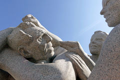 Vigeland park, Oslo, Norway, two boys, fighting with old man. Royalty Free Stock Photography