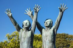 Vigeland Park, Two Boys Running Royalty Free Stock Images