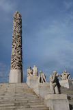 Vigeland sculpture park in Oslo, Norway. Monolith and statues. Picture from Vigeland park in the Norwegian capital city Oslo Stock Photo