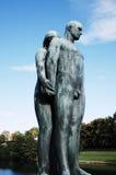 Vigeland Sculpture Park, OSLO, NORWAY. OSLO, NORWAY - SEPTEMBER 12, 2014: Sculptures at Vigeland Sculpture Park by Gustav Vigeland in twilight, Oslo, Norway Stock Image