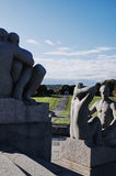Vigeland Sculpture Park, OSLO, NORWAY. OSLO, NORWAY - SEPTEMBER 12, 2014: Sculptures at Vigeland Sculpture Park by Gustav Vigeland in twilight, Oslo, Norway Stock Photography
