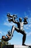 Vigeland Sculpture Park, OSLO, NORWAY. OSLO, NORWAY - SEPTEMBER 12, 2014: Sculptures at Vigeland Sculpture Park by Gustav Vigeland in twilight, Oslo, Norway Stock Photos