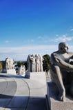 Vigeland Sculpture Park, OSLO, NORWAY. OSLO, NORWAY - SEPTEMBER 12, 2014: Sculptures at Vigeland Sculpture Park by Gustav Vigeland in twilight, Oslo, Norway Royalty Free Stock Photography