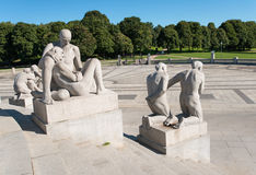 Vigeland statues detail. OSLO - AUGUST 27: Statues in Vigeland park in Oslo, Norway on August 27, 2012. The park covers 80 acres and features 212 bronze and Royalty Free Stock Photo