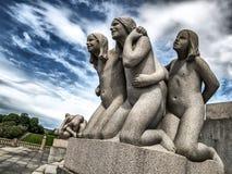 Vigelandstandbeelden in Frogner-Park Stock Afbeeldingen