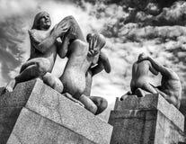 Vigelandstandbeelden in Frogner-Park Royalty-vrije Stock Fotografie