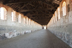 Vigevano, covered street of the castle. Vigevano (Pavia, Lombardy, Italy), covered street of the castle royalty free stock photography