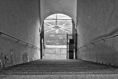 Vigevano, la scala del palazzo di Ducale Foto in bianco e nero di Pechino, Cina Fotografia Stock