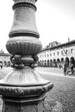 Vigevano Piazza Ducale. Black and white photo Royalty Free Stock Images
