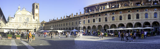 Vigevano Piazza Ducale, wide-angle view. Color image Royalty Free Stock Photography