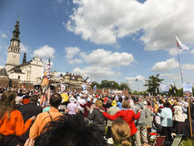 Vigil Catholic Charismatic Renewal. CZESTOCHOWA, POLAND - May 16, 2015: Vigil Catholic Charismatic Renewal meeting Czestochowa Poland, in front of Jasna Gora Royalty Free Stock Image
