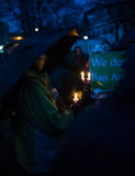 Vigil for Newtown shooting victims. Dozens of Vermonters gathered at City Hall Park in Burlington Vermont for a candle light vigil held in honor of the victims Stock Images
