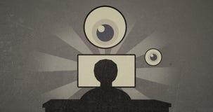 vigilancia del vintage 4k y vídeo del malware de Internet en estilo infographic