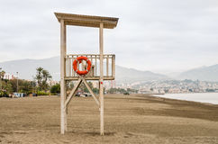 Because of vigilant of the beach. Since of lifeguard of wood on the beach of the sea Mediterranean on a day of December Stock Images