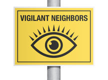 Vigilant neighbors sign Stock Photo