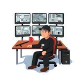 Vigilante que se sienta en el vídeo de la supervisión del sitio de la seguridad ilustración del vector
