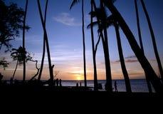 Vigilantes de la puesta del sol en la playa de Anaeho'omalu Imagenes de archivo