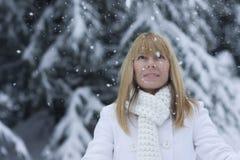 Vigilanza della donna i fiocchi della neve Fotografia Stock
