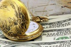 Vigilanza di casella e valuta degli Stati Uniti Fotografia Stock Libera da Diritti