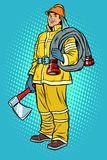 Vigile del fuoco con l'ascia e l'idrante illustrazione vettoriale