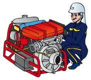 Vigile del fuoco con la macchina Royalty Illustrazione gratis