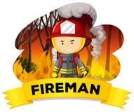 Vigile del fuoco con fuoco nei precedenti Fotografia Stock Libera da Diritti