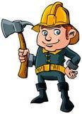 Vigile del fuoco del fumetto con l'ascia royalty illustrazione gratis