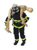 Vigile del fuoco di legno che trasporta una persona alla sicurezza Immagine Stock Libera da Diritti