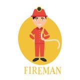 Vigile del fuoco di professione funzionamento del giovane come a Illustrazione Fotografia Stock Libera da Diritti