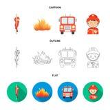 Vigile del fuoco, fiamma, camion dei vigili del fuoco Icone stabilite della raccolta del departmentset del fuoco nel fumetto, pro Immagine Stock Libera da Diritti