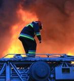Vigile del fuoco nell'azione rischiosa Immagine Stock Libera da Diritti