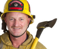 Vigile del fuoco sorridente Fotografia Stock